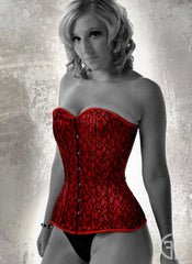 Red Liberty Lace overbust corset