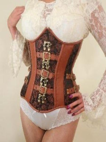 Tan Underbust Steampunk steel boned Corset