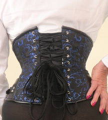 Blue Brocade Steampunk steel boned waist cincher