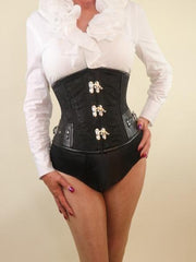 Black Brocade Steampunk steel boned waist cincher