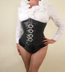 Black pinstripe with buckles underbust steel boned corset