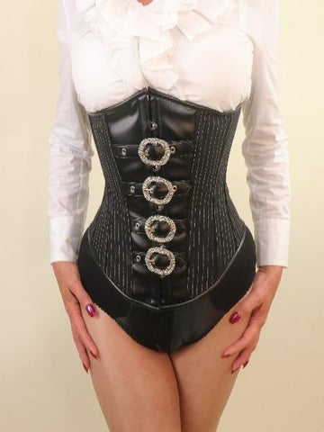 Pinstripe with buckles steel boned underbust corset