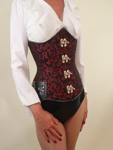 Red brocade steampunk steel boned underbust corset