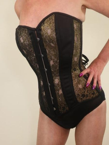 Black and gold mesh overbust steel boned corset
