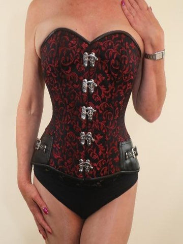Red brocade steampunk overbust corset