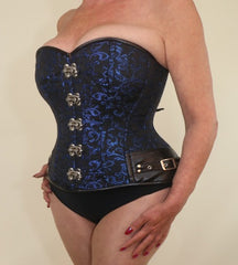 Blue brocade steampunk overbust steel boned corset
