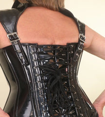 PVC black with detachable collar overbust corset