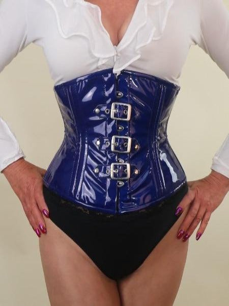 PVC blue with buckles waist cincher corset