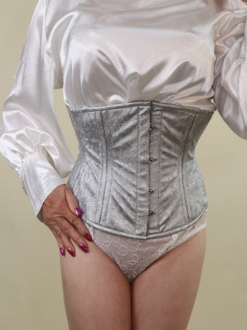 Silver embossed PVC waist-cincher corset