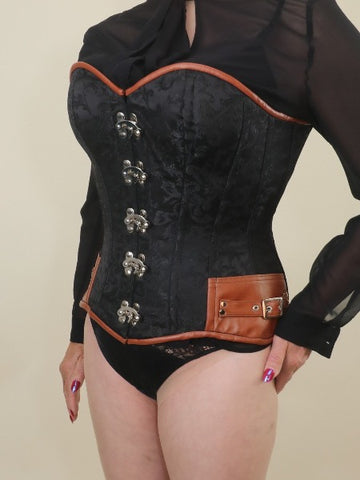 Black  brocade with tan trim steampunk overbust corset