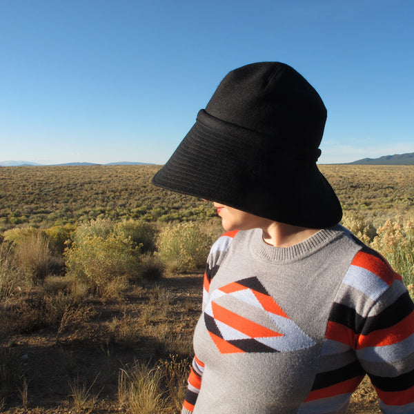 black hat sunshine mountains hat silhouette