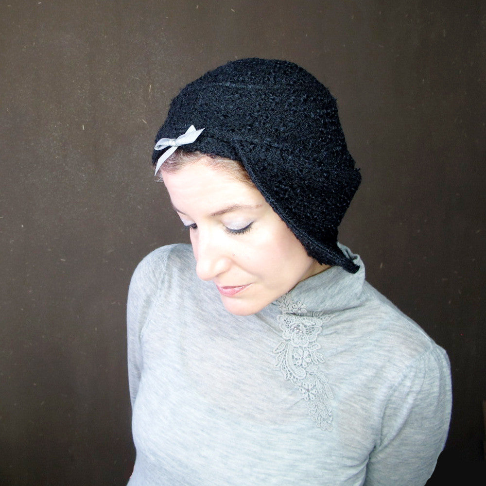 Womens asymmetrical brimmed cloche in black curly wool bouclé : Acappella - terry graziano  - 10