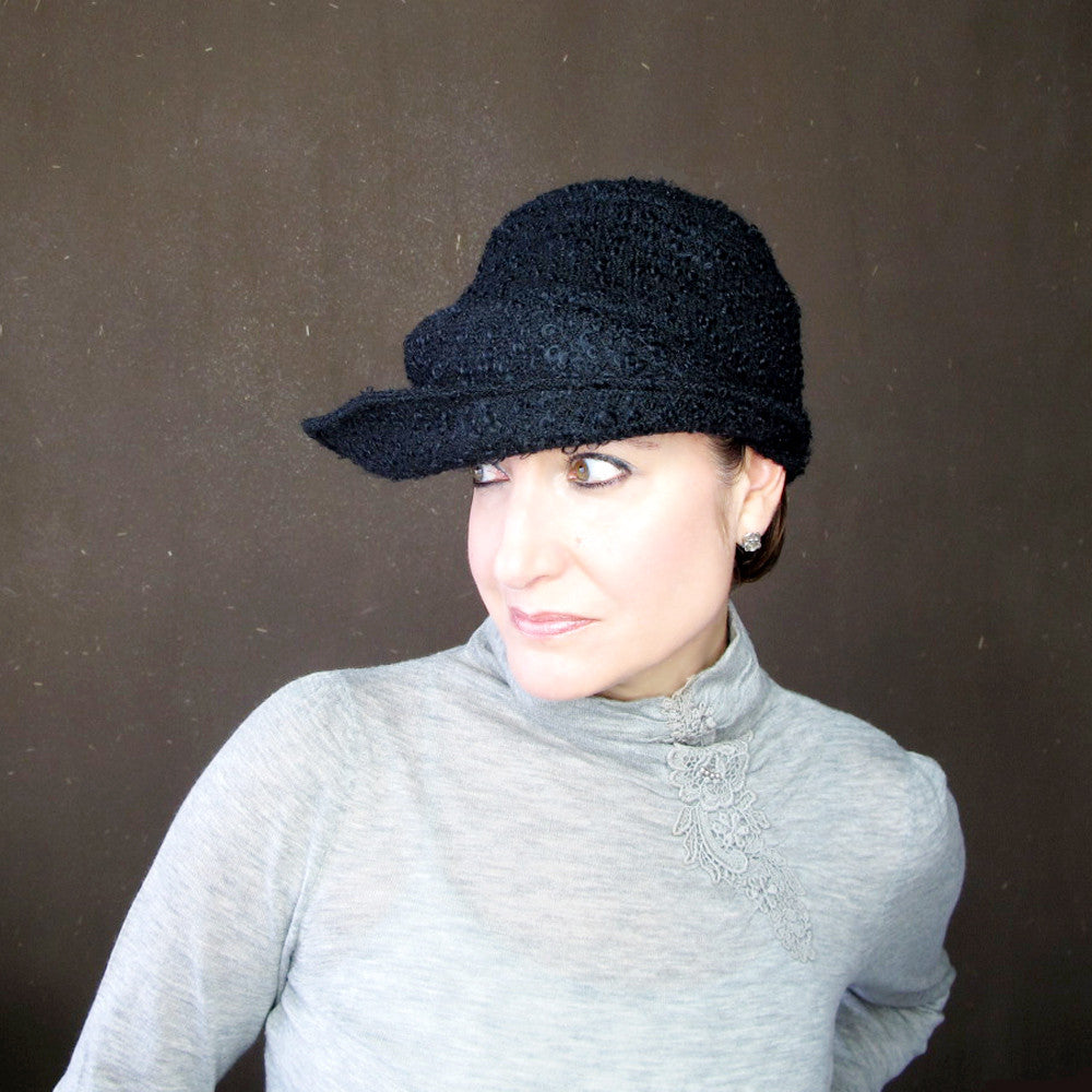 Womens black asymmetrical brimmed cloche - terry graziano