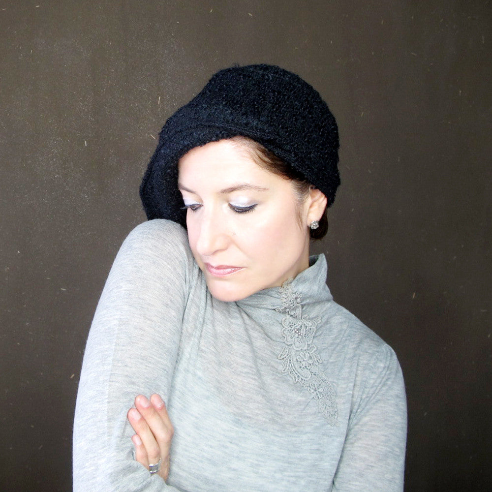 Ladies black winter hat - terry graziano
