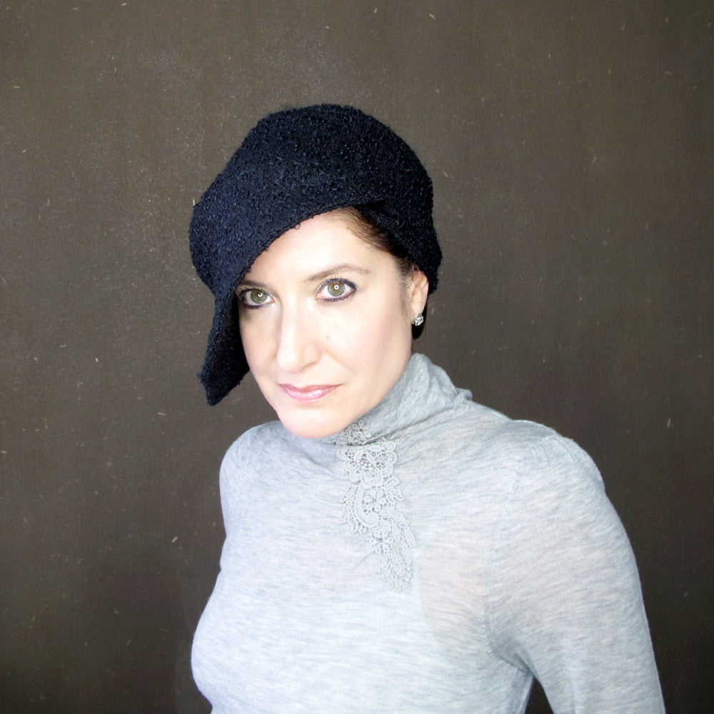 Ladies asymmetrical cloche hat in black wool - terry graziano