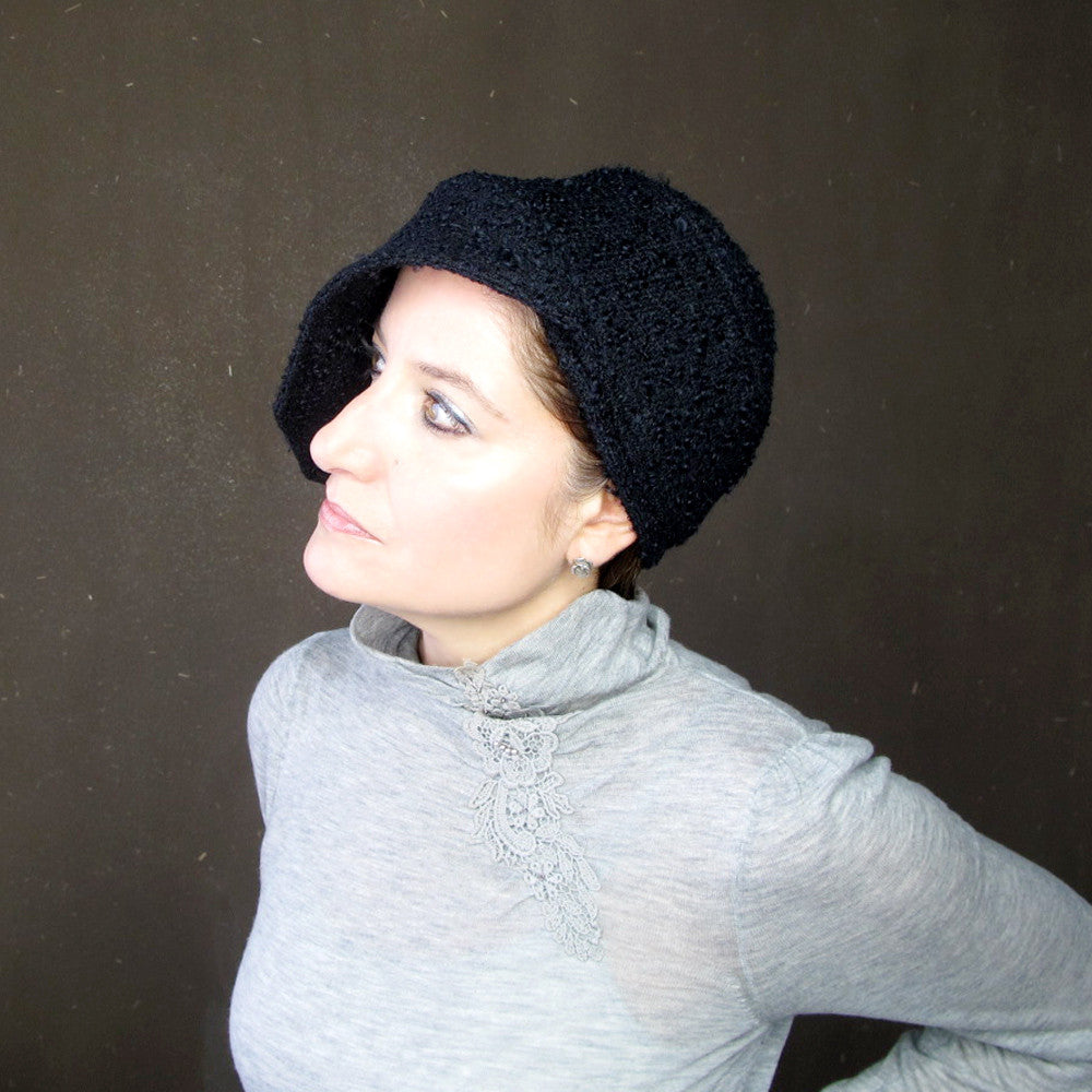 Womens asymmetrical brimmed cloche in black curly wool bouclé : Acappella - terry graziano  - 8