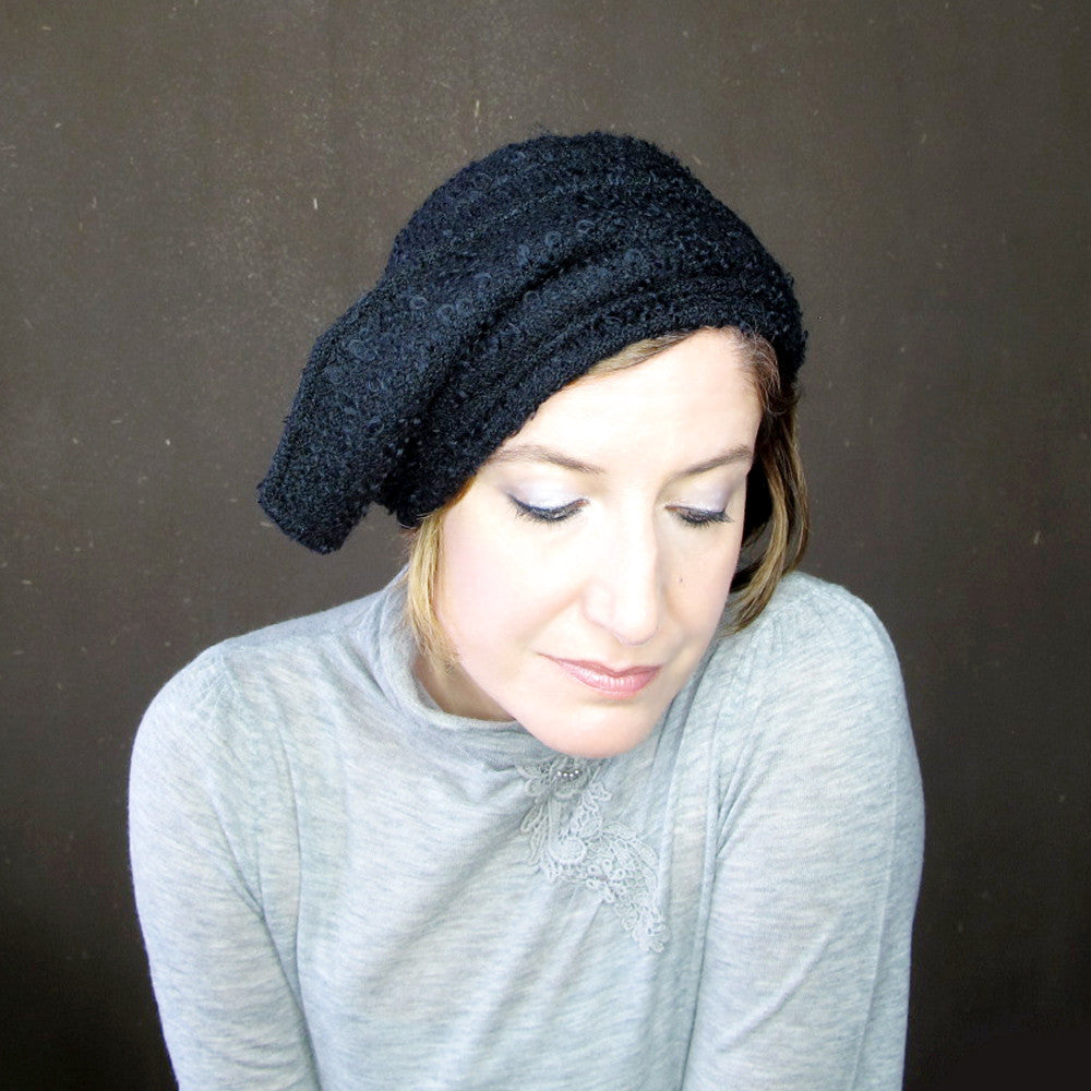 Womens asymmetrical brimmed cloche in black curly wool bouclé : Acappella - terry graziano  - 9