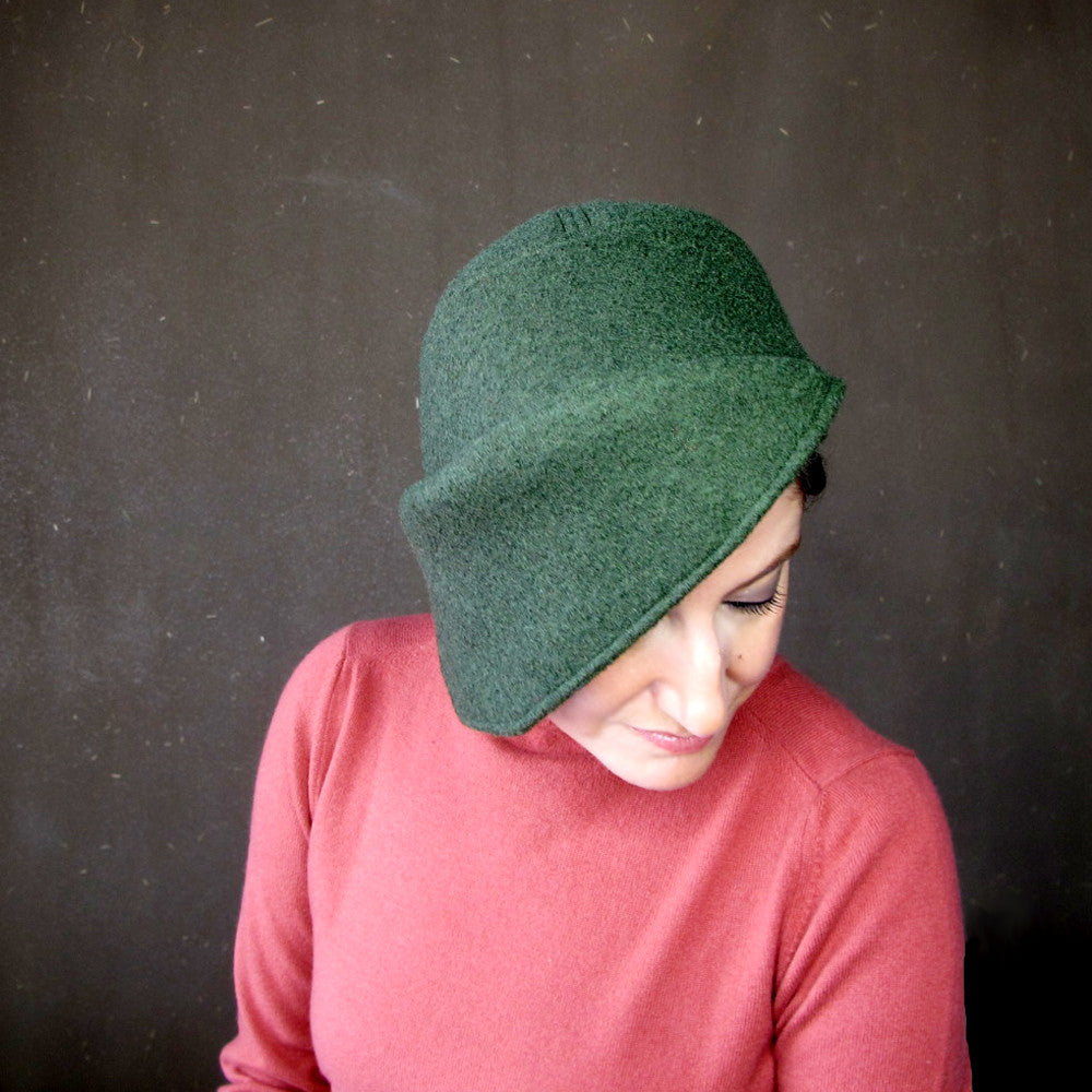 Asymmetrical brim hat, cozy cap in cypress green - terry graziano