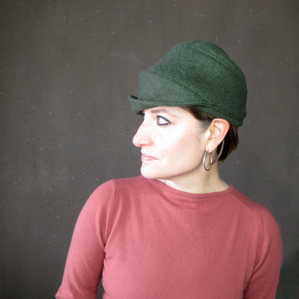 Green wool boucle hat - terry graziano