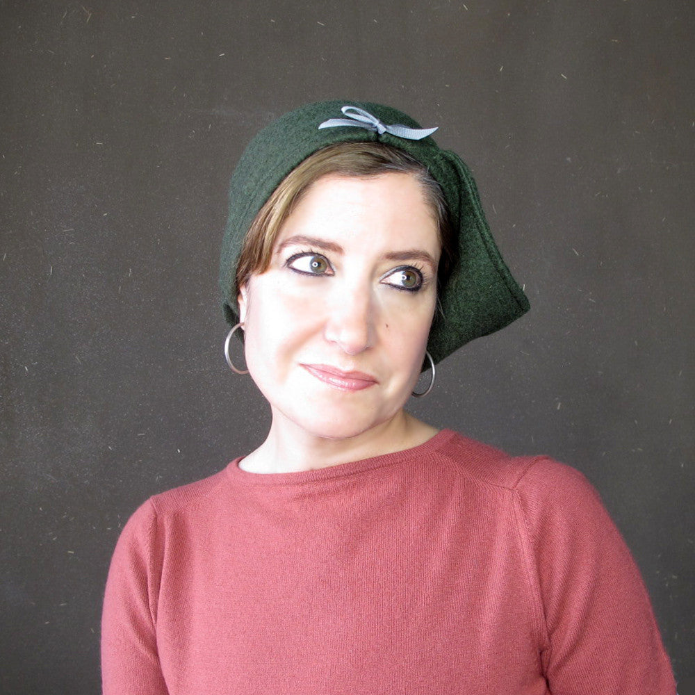 Ladies green cloche - terry graziano