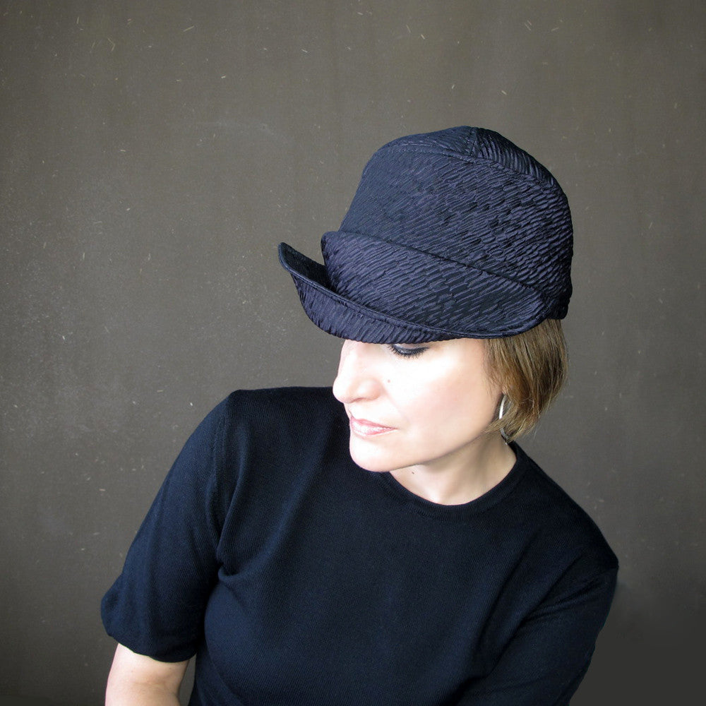 Womens handmade asymmetrical brimmed cloche hat - terry graziano