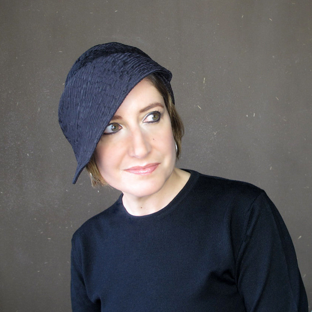 Asymmetrical brimmed cloche hat in violet neoprene - terry graziano