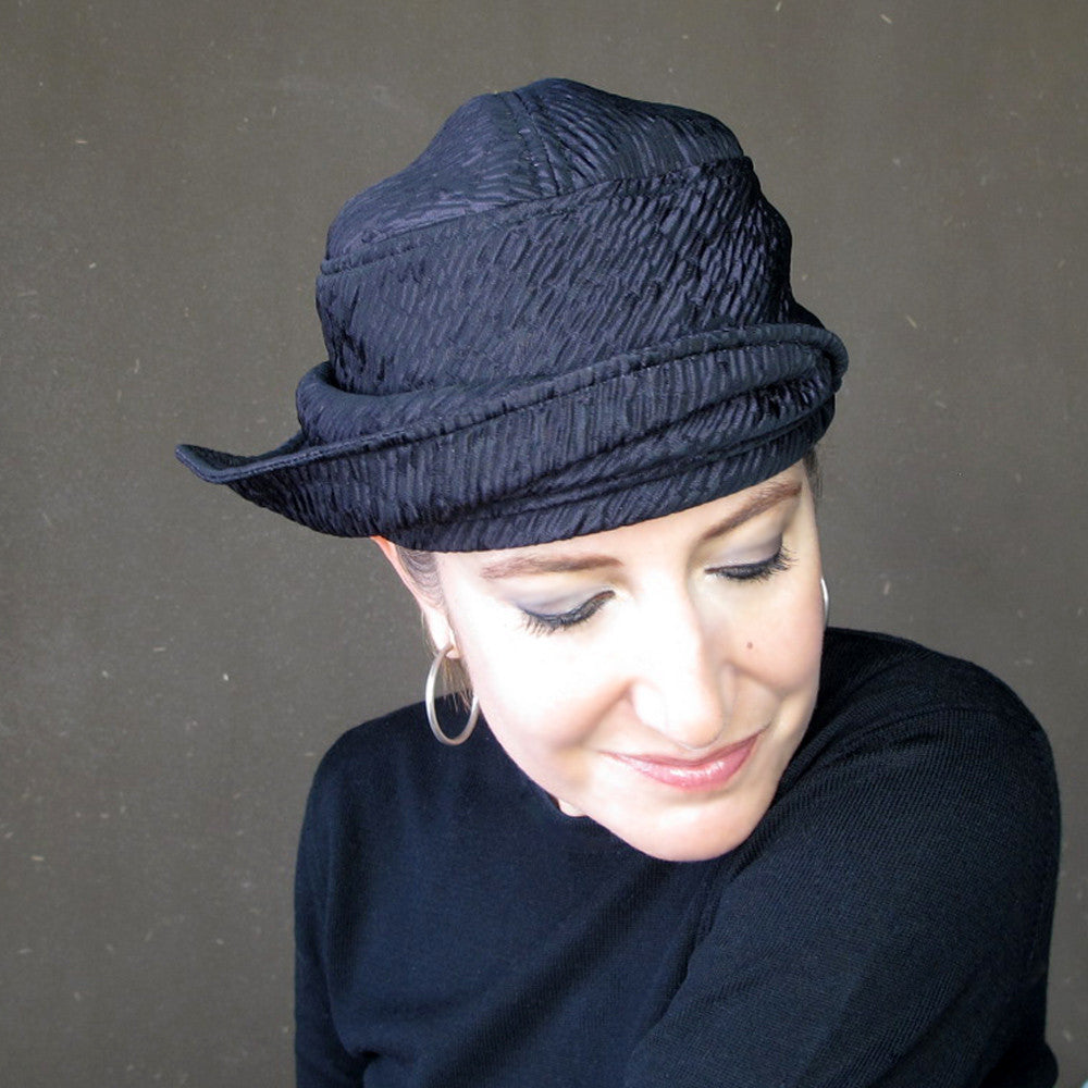 Womens handmade asymmetrical brimmed cloche hat in iridescent violet neoprene : Acappella - terry graziano  - 8