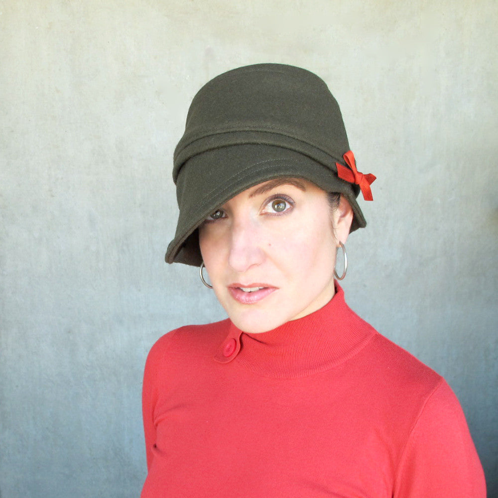 Asymmetric brim cloche hat in olive green handmade by independent designer - terry graziano