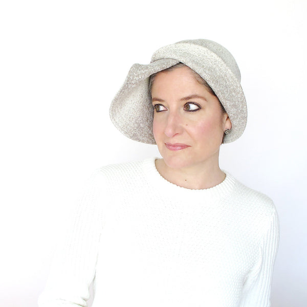 Womens cloche in cream and beige wool - terry graziano - 1