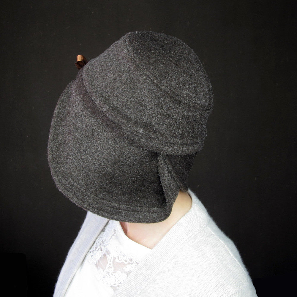 Accomplice in chocolate wool & mohair : Women's warm cloche hat - terry graziano  - 10