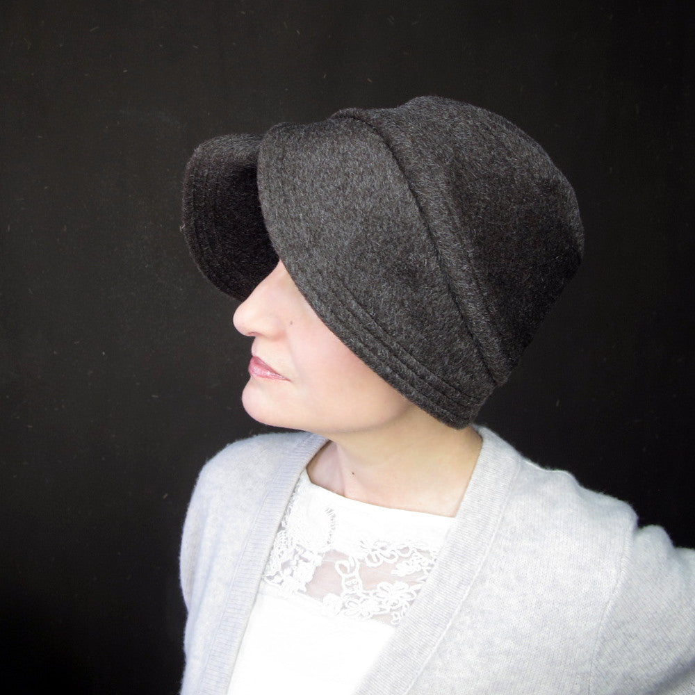 Womens warm cloche hat in chocolate brown - terry graziano