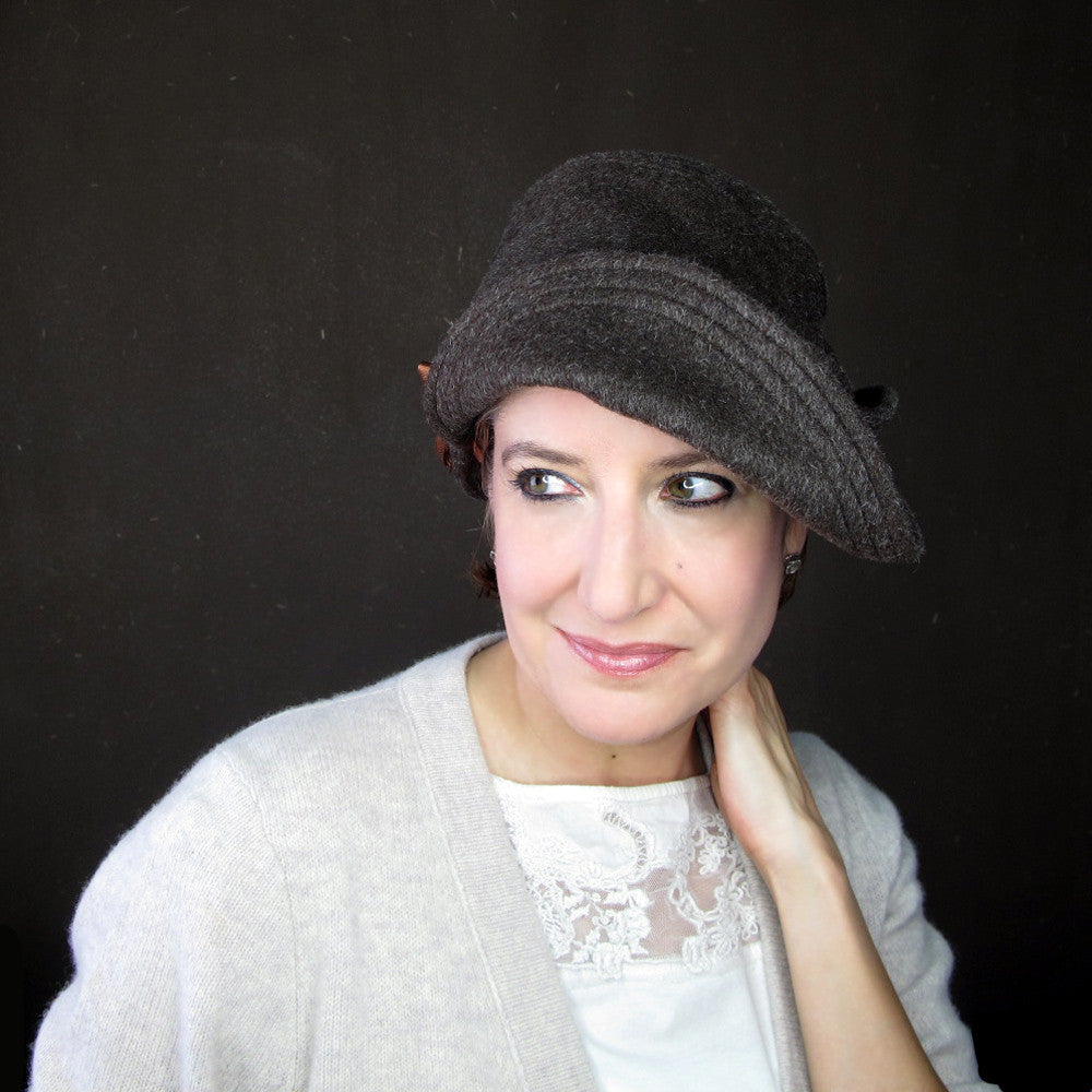 Womens versatile brown wool cloche hat - terry graziano