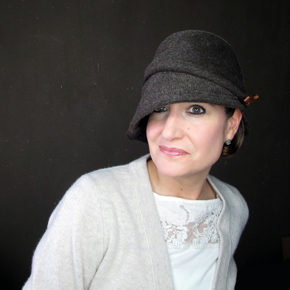 Asymmetrical brim brown cloche hat - terry graziano