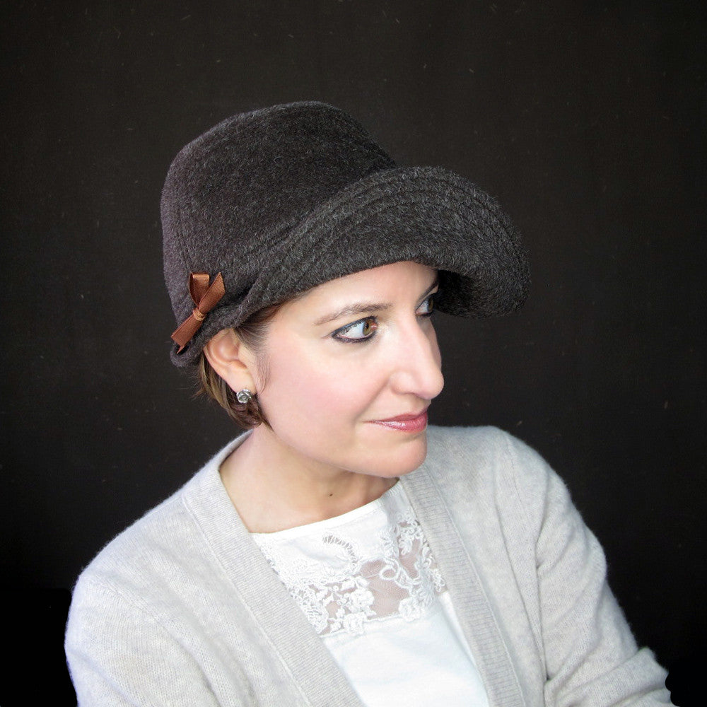 Handmade designer cloche hat in warm brown - terry graziano