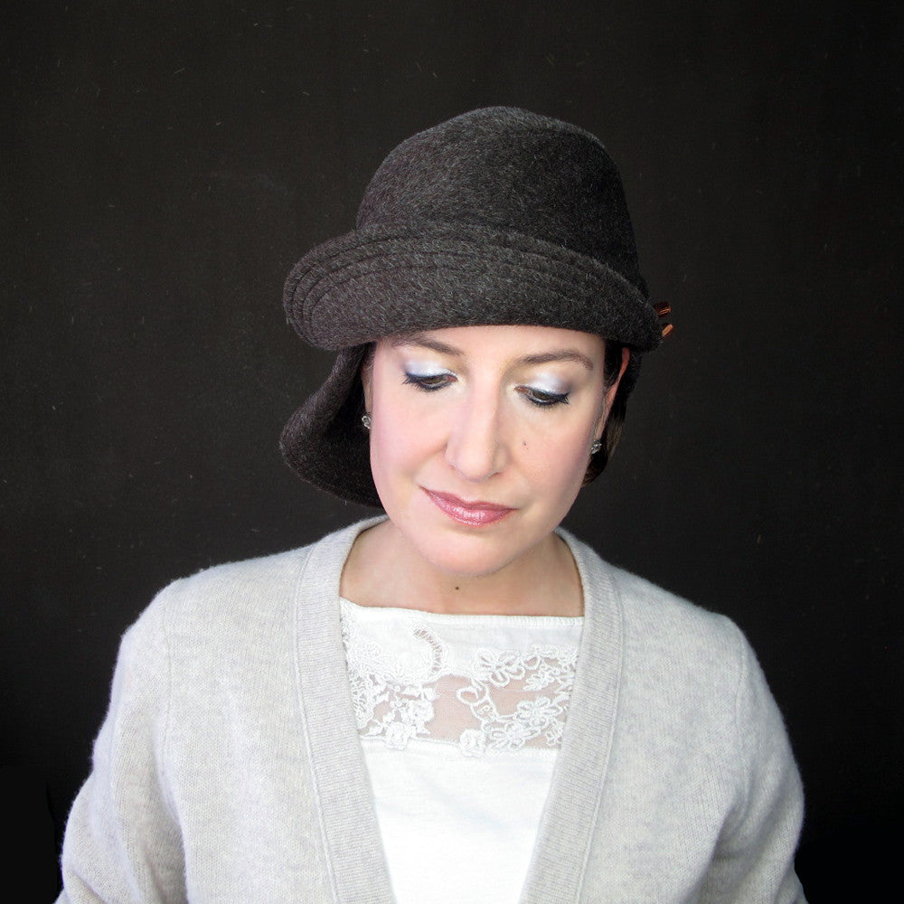 Accomplice in chocolate wool & mohair : Women's warm cloche hat - terry graziano  - 8