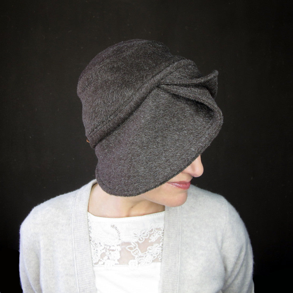 Accomplice in chocolate wool & mohair : Women's warm cloche hat - terry graziano  - 9