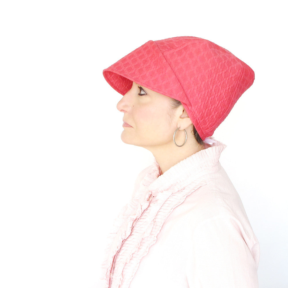 Ladies sharp brimmed cotton cap in pink - terry graziano