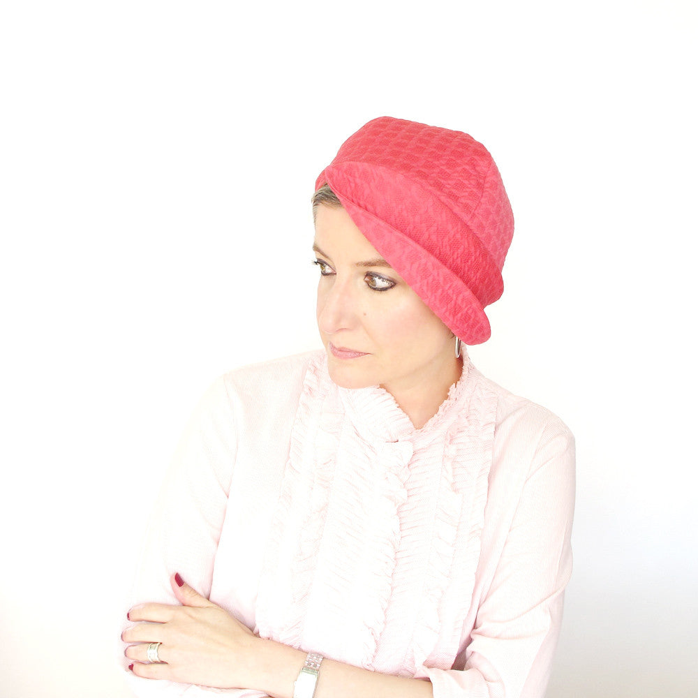 Asymmetric brim cloche hat in pink cotton  - terry graziano