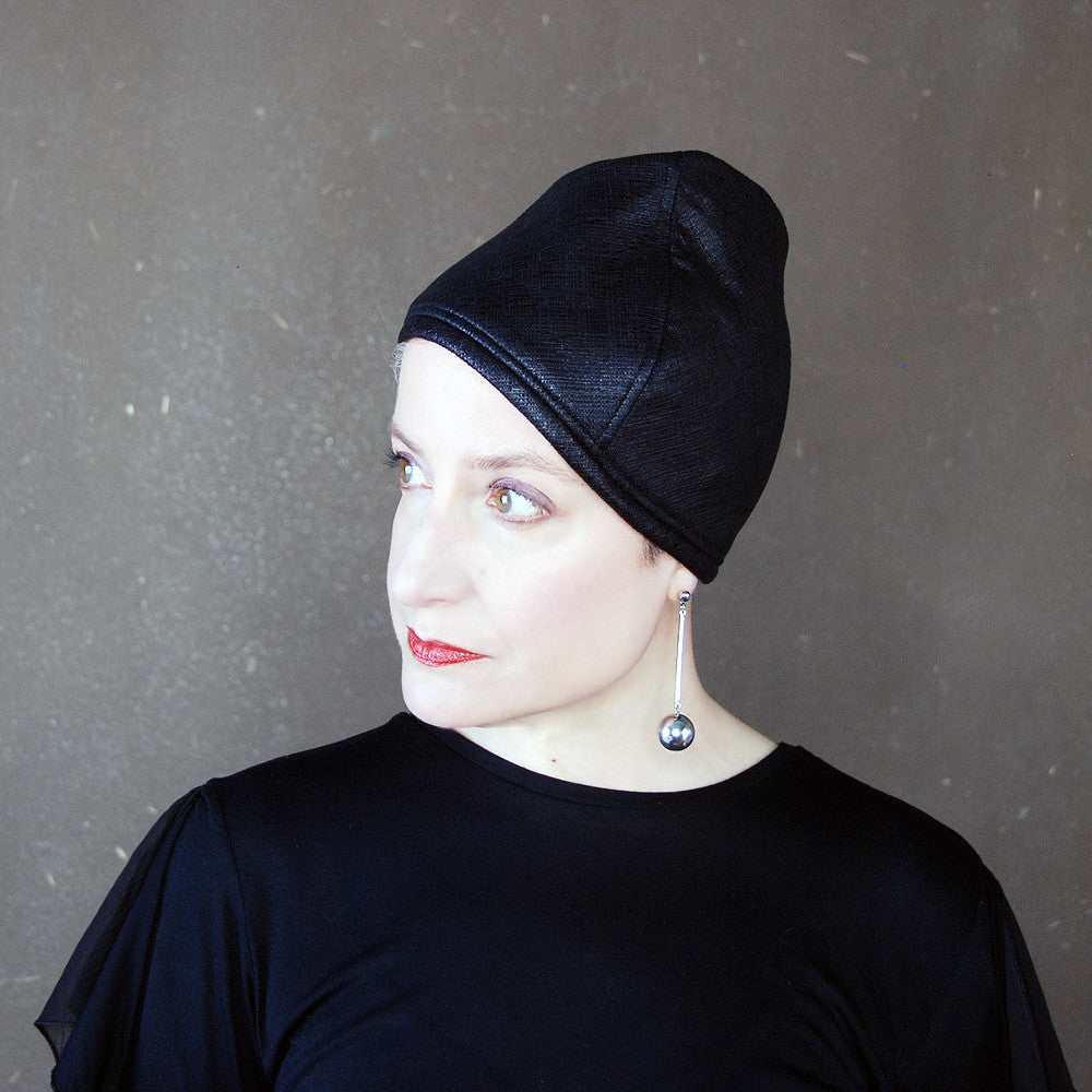 Cognoscenti : Womens black faux leather cap, sewn turban, brimless cloche, modern madcap, handmade millinery, easter bonnet, cocktail hat