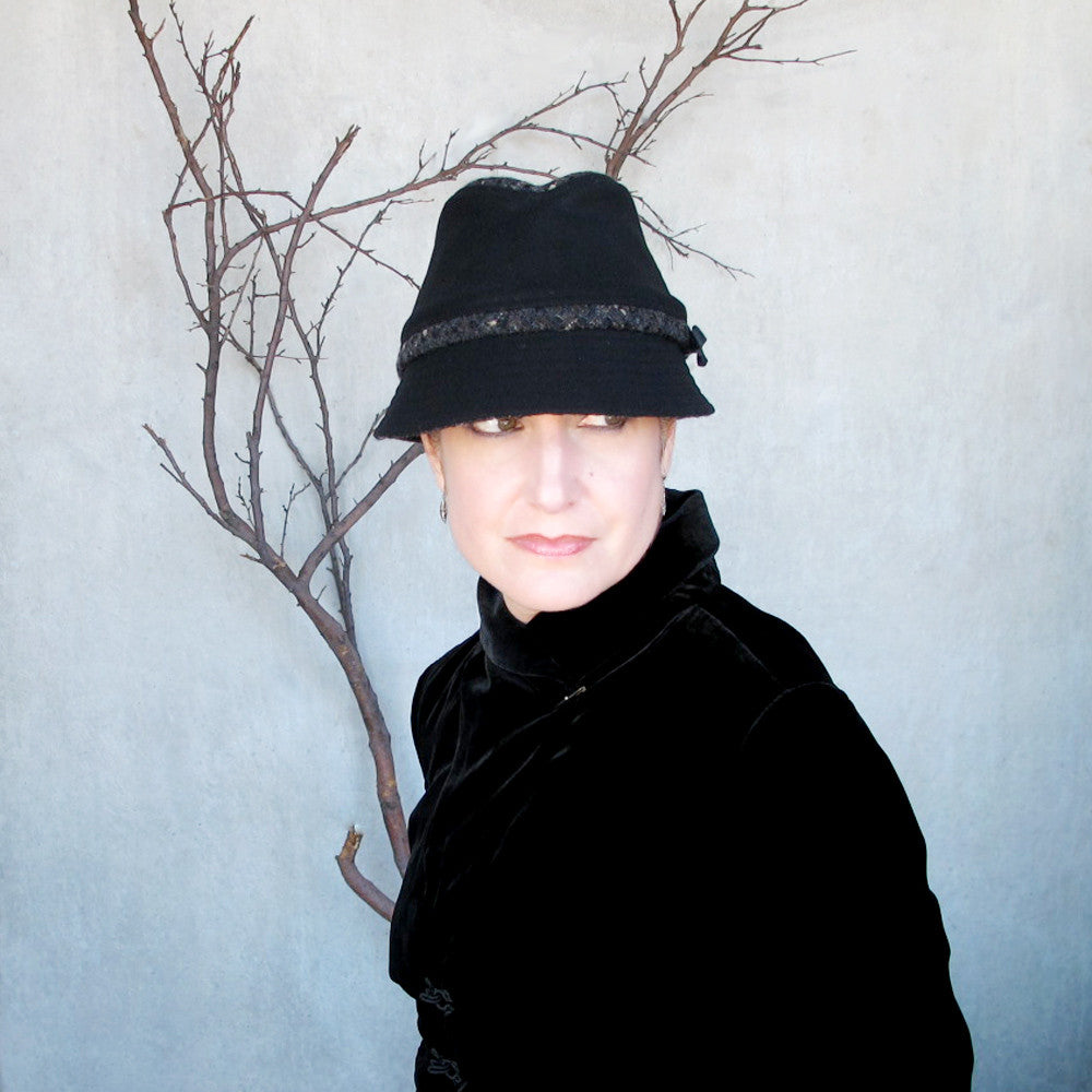 Ladies fedora in black & tweed - terry graziano