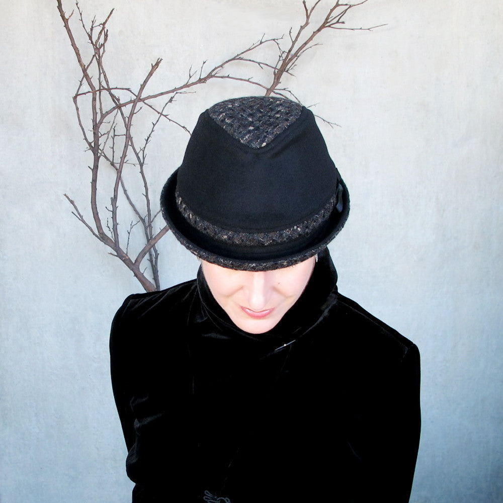 Winter wool fedora in black & tweed - terry graziano