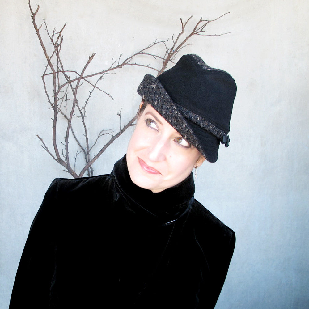 Womens black & tweed fedora - terry graziano