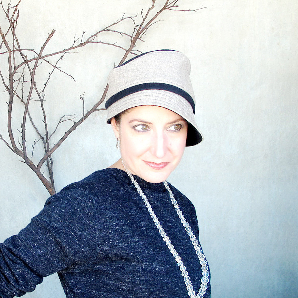 Unique handmade designer fedora cloche hat in navy & greige - terry graziano