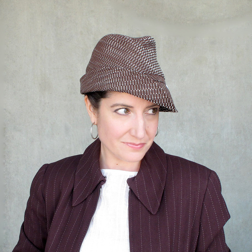Womens summer fedora in brown - terry graziano