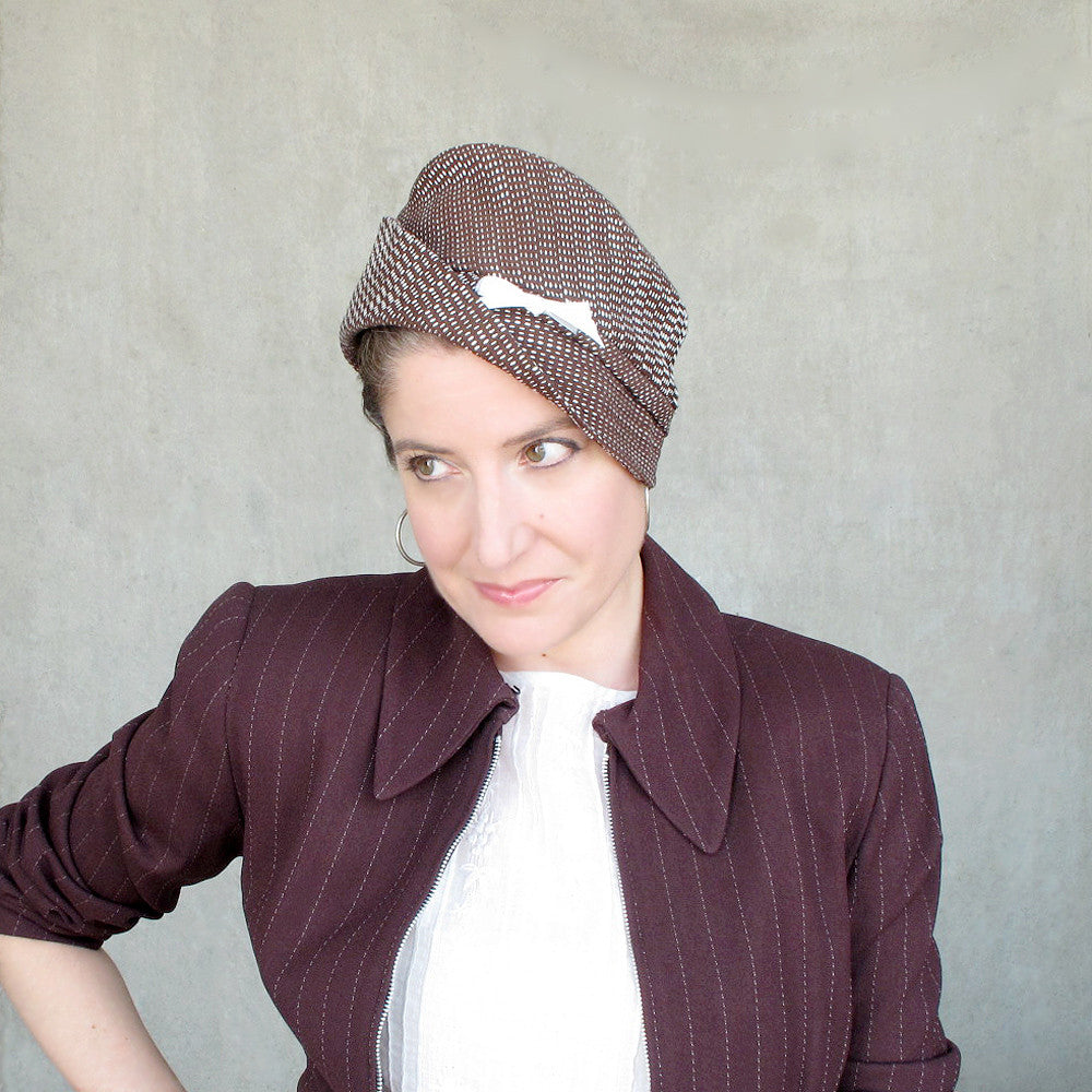 Womens multistyle fedora & cloche in brown cotton - terry graziano