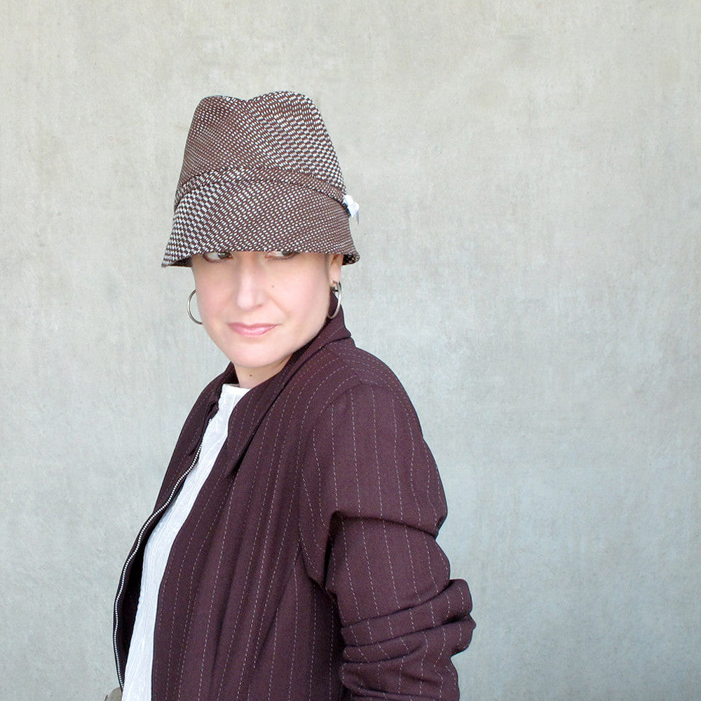 Chocolate brown cotton womens fedora - terry graziano