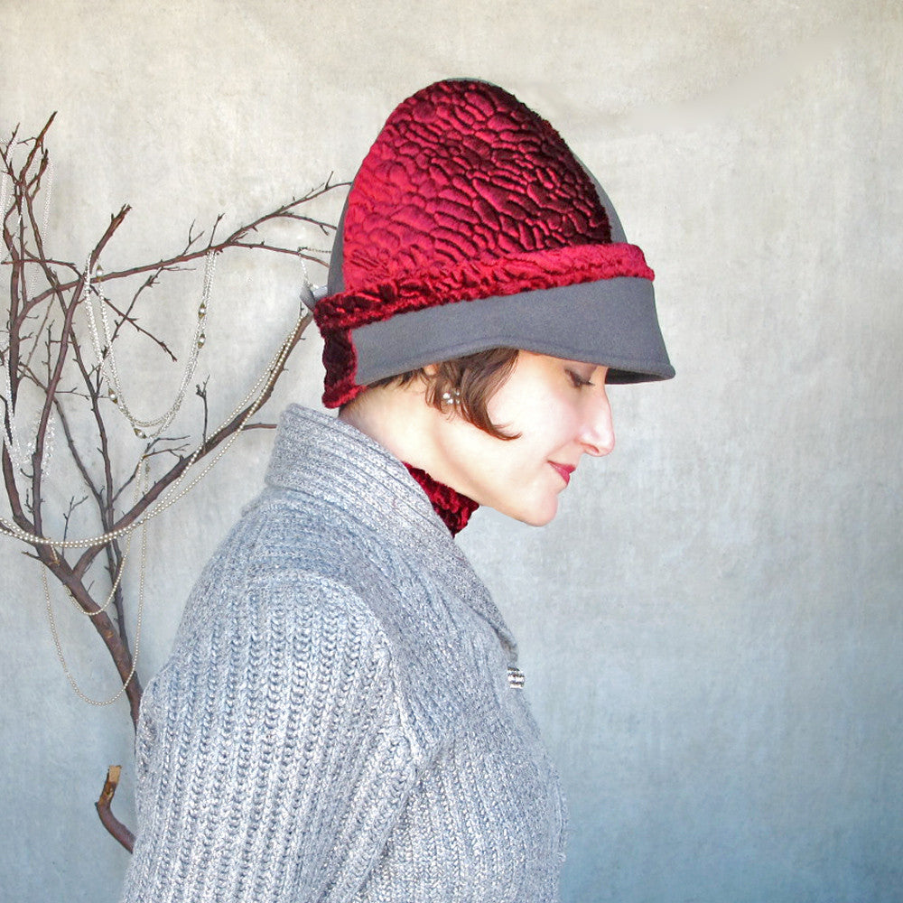 Womens holiday warm winter cloche cap in soft grey & scarlet red - terry graziano