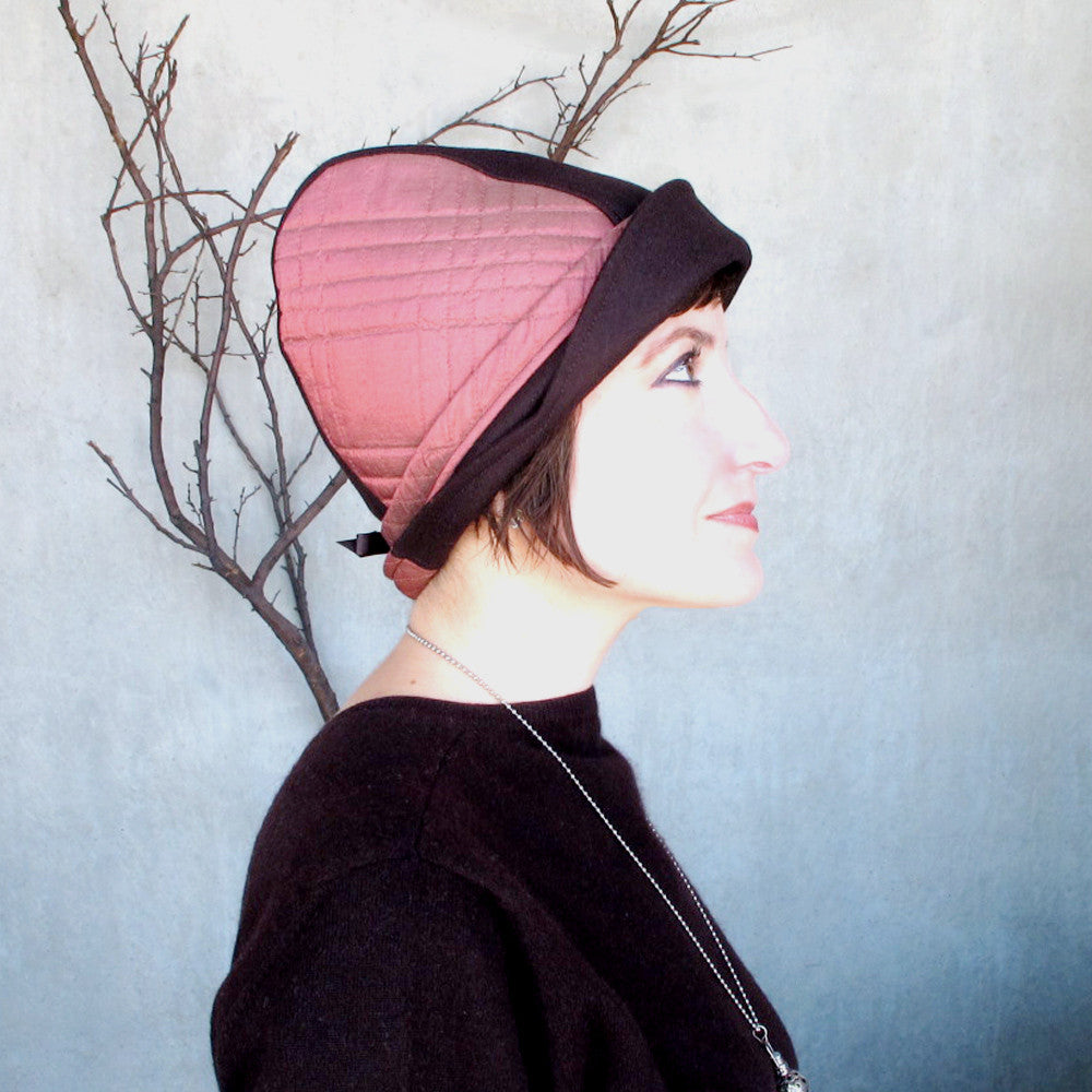 Warm wool & quilted silk cap in chocolate brown & brick pink - terry graziano