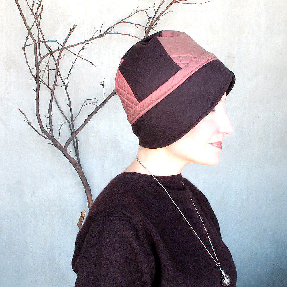 Versatile cloche fedora cap in chocolate brown wool & brick pink quilted silk - terry graziano