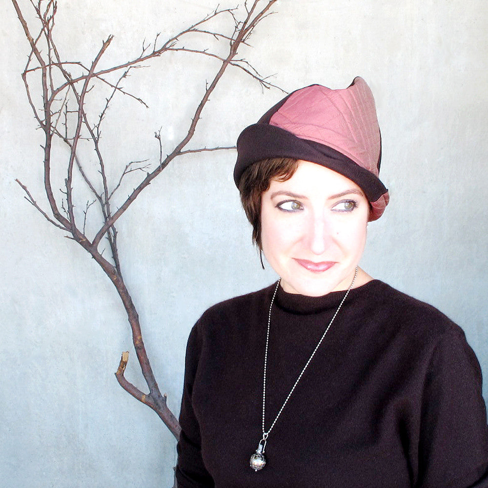 Modern millinery brimmed convertible cap in chocolate brown & brick pink - terry graziano